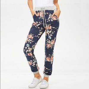 Faded Navy Floral Sweat Pant Joggers